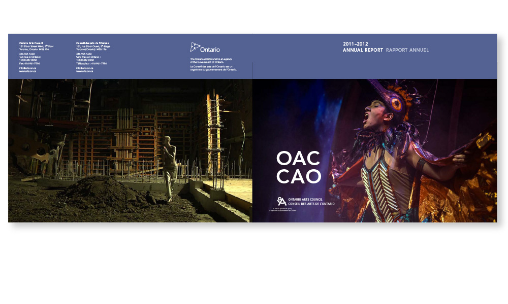 Bilingual annual report, showcasing 216 Ontario Communities, where artists and organizations received OAC grants.
